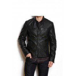 Armani Exchange Mens Faux Leather Moto Jacket